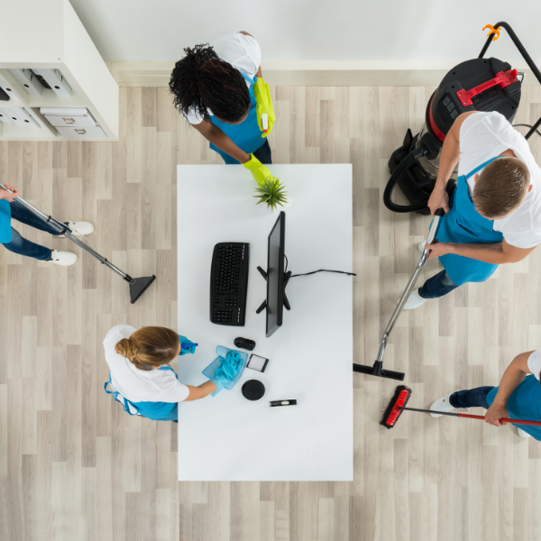 Team of people cleaning